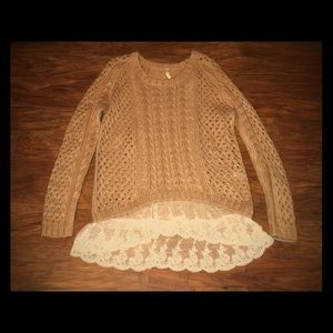 POL Brown Cable Knot Sweater With Lace Trim on Hem